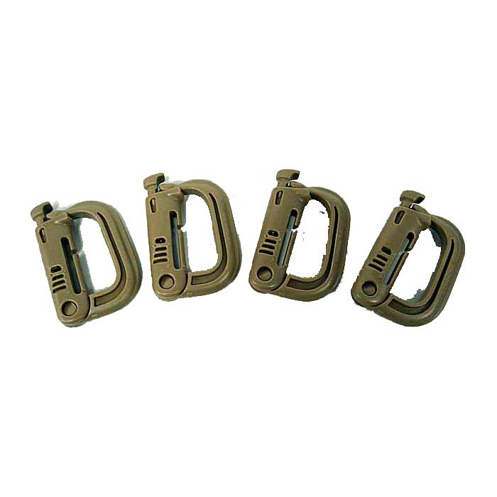4pcs Grimloc Buckle Carabiner D-Ring Locking Molle Clips Snap TAN