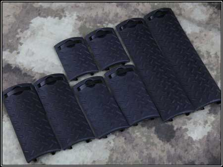 Tactical ERGO Diamond Plate Rail Cover 8 pcs Set Black