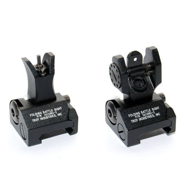 HI Troy Metal Front and Rear Folding Battle Sight TRS-1 BK