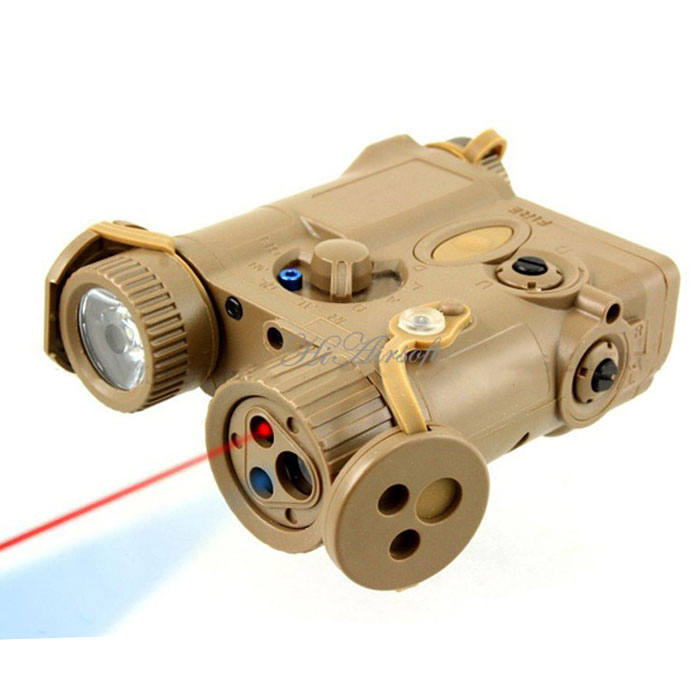 AN/PEQ-16A Integrated LED Flashlight + Red Laser Sight Module Tan