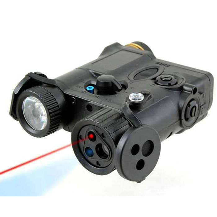 AN/PEQ-16A Integrated LED Flashlight + Red Laser Sight Module BK