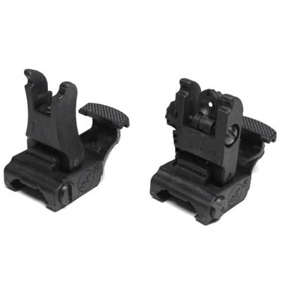 Tactical Folding ARMS 71L Front & Rear Sights Flip-Up Set RIS (BK)
