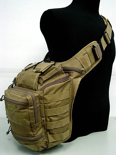 Tactical Gear Travel Sport Shoulder Sling Chest 3 ways Pouch Bag DE