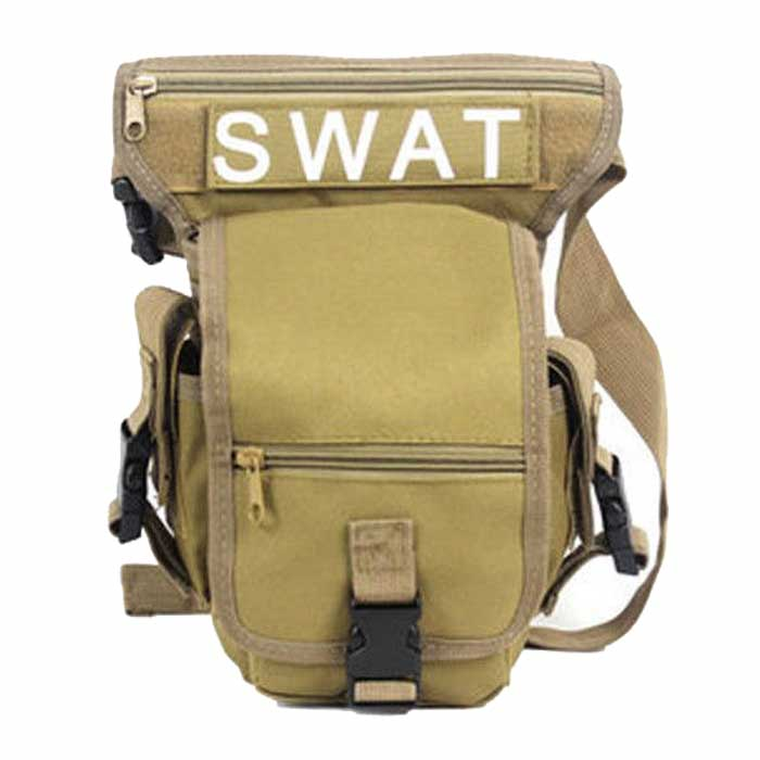 SWAT Military Drop Leg Bag Panel Utility Waist Belt Pouch Bag TAN