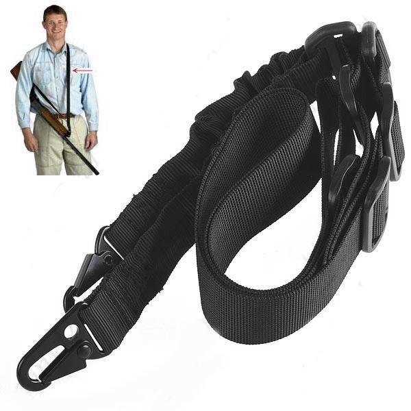 2 Point Adjustable Bungee Rifle Gun Sling Military Tactical Belt BK
