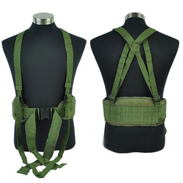 Molle Tactical Combat Waist Padded Belt With H-shaped Suspender OD