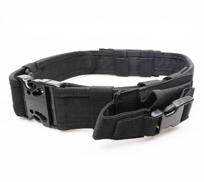 Tactical Belt Military Police Duty Belts with Pouch Molle Lock BK