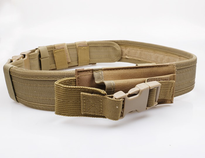 Tactical Belt Military Police Duty Belts Molle with Pouch Lock DE