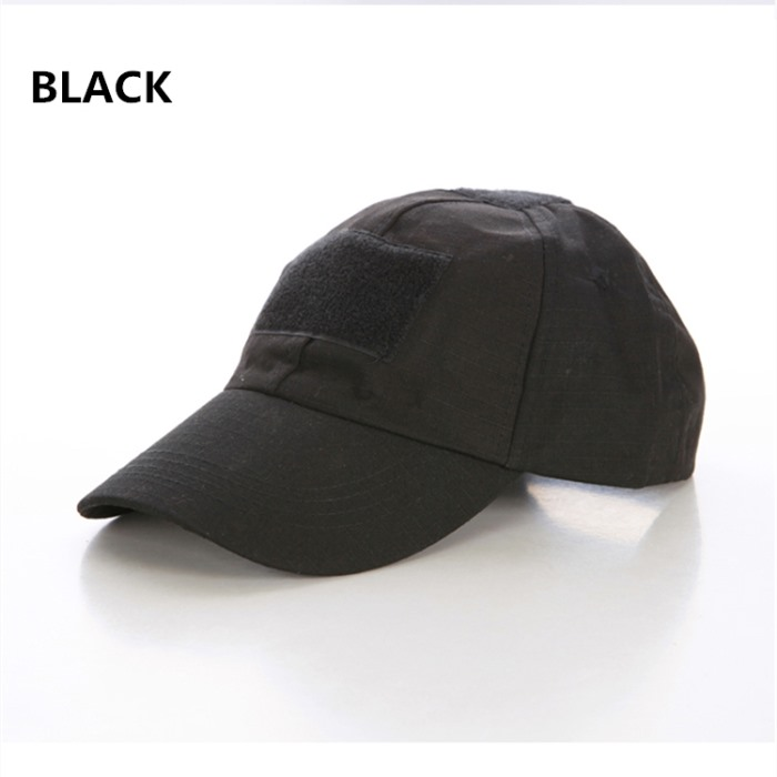 Adjustable Tactical Cap Military Sun Hat with Velcro Baseball Cap BK