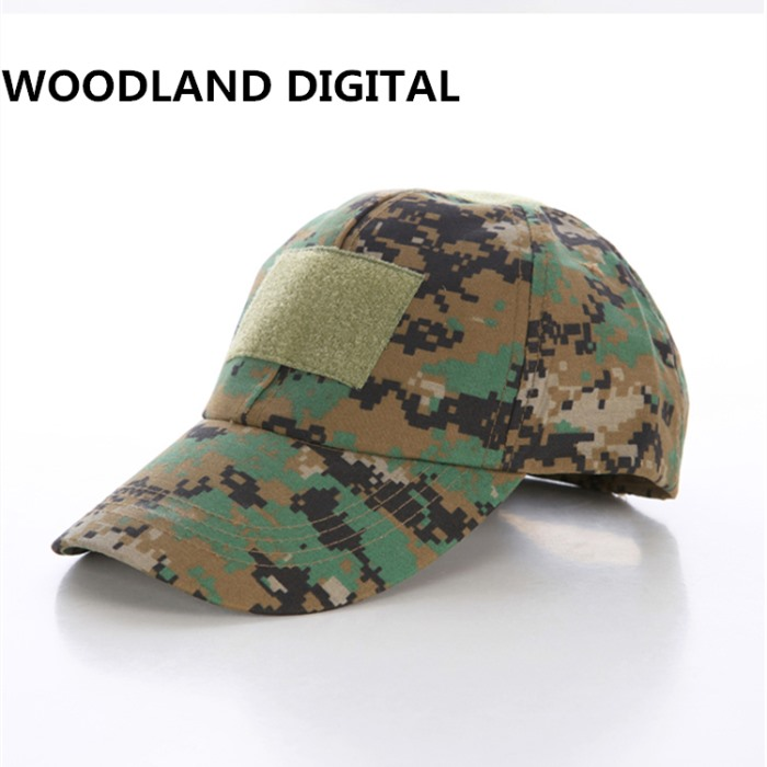 Adjustable Tactical Camo Cap Military Airsoft Baseball Cap Velcro DC