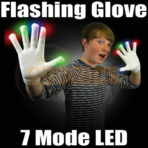 Ablaze 7 Mode LED Rave Light Finger Lighting Flashing Gloves