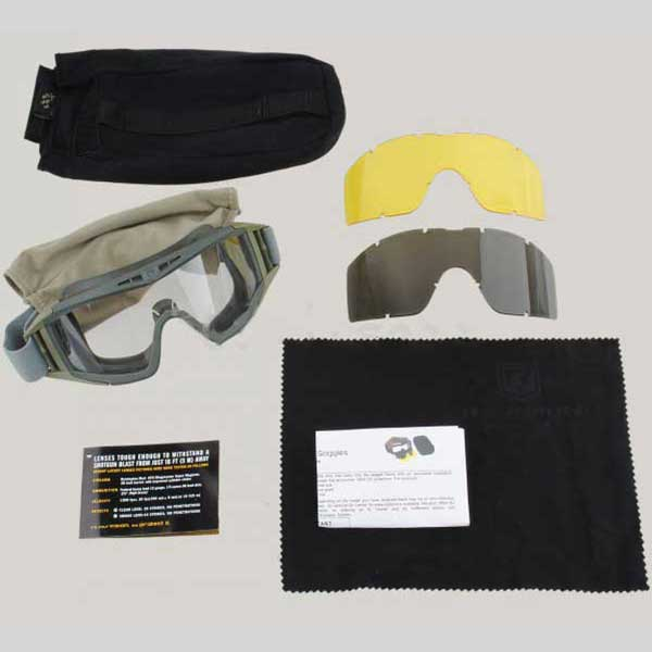 Lus Airsoft Hero Protective Tactical Goggle with 3 Lens OD