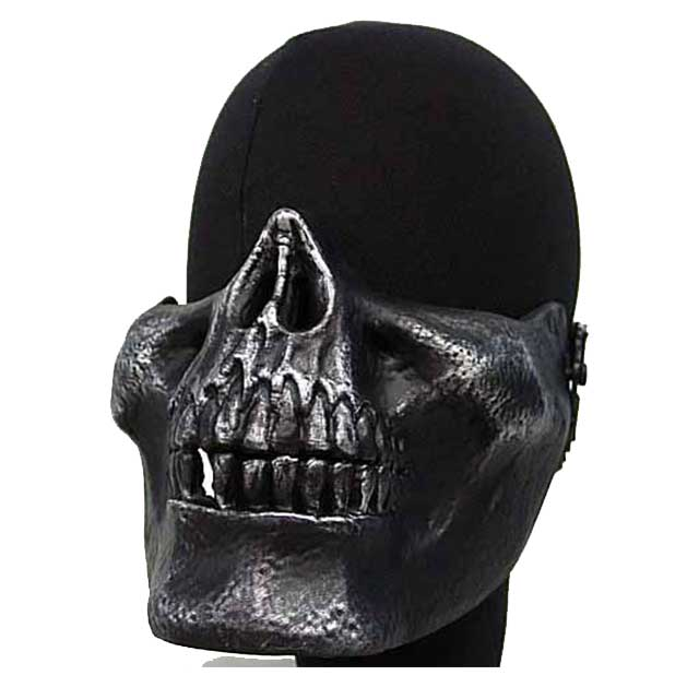Airsoft Mask Silver Seal Skull Skeleton Half Face Protector BK