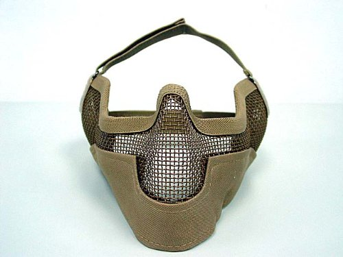 Cheap airsoft stalker bat style raider mesh mask tan