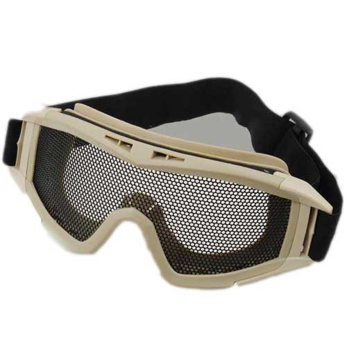 Cool Airsoft Tactical Metal Mesh Protection Goggles Tan