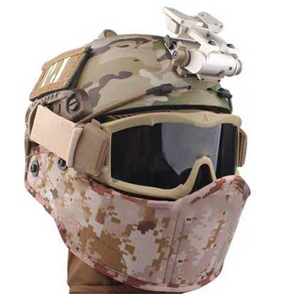 SWS Helmet Mounted Face Protector Half Face Nylon Mask Tan