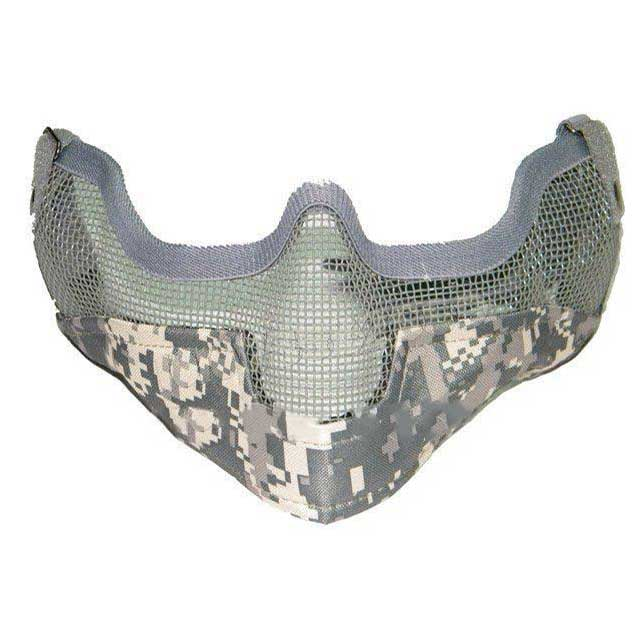 Airsoft V2 Tactical Half Face Mask Strike Metal Mesh ACU Camo
