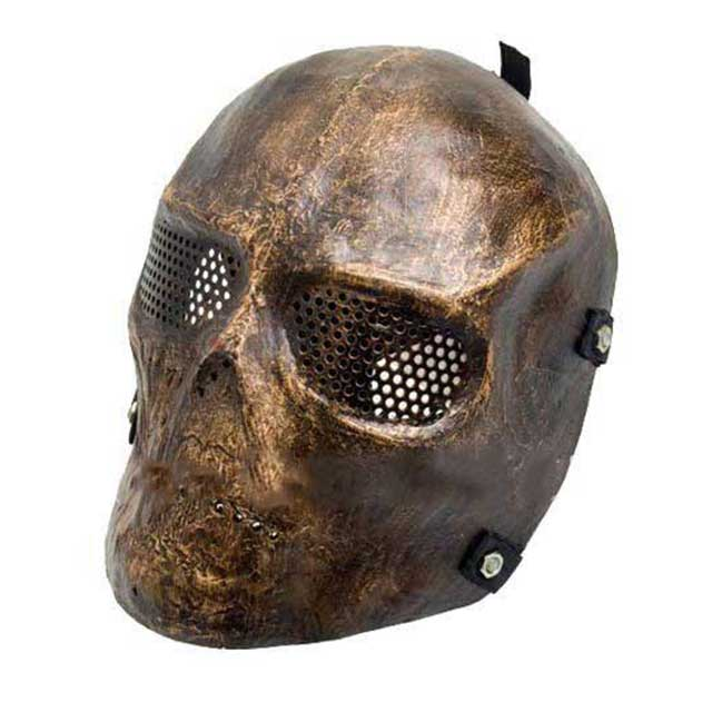 Airsoft Full Face Skull Mask Hard Plastic Copper Color