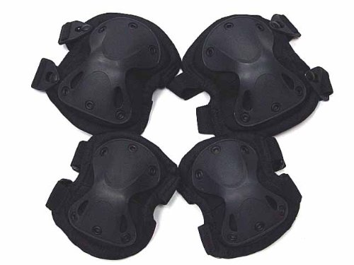 Airsoft Paintball Knee & Elbow Pads SWAT X-Cap Black