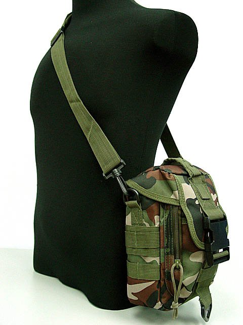 Airsoft Pouch Shoulder Bag Tools Mag Drop Camo Woodland
