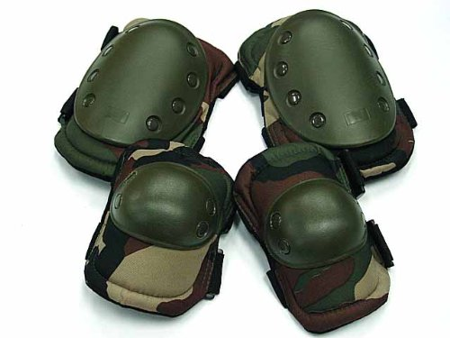 Airsoft Combat Woodland 2 Knee & 2 Elbow Pads