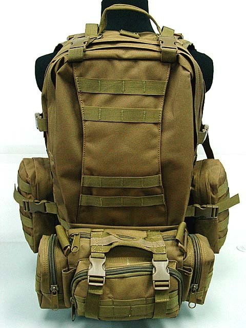 SWAT Tactical Molle Assault Backpack Brown Bag Coyote