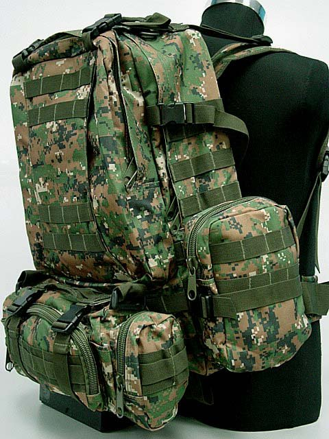 SWAT Tactical Gear Backpack Bag Digital Camo Woodland