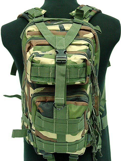 3L Waterproof Molle Backpack Military Assault Bag Camo Woodland