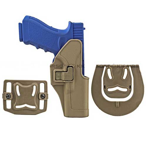 Black Holster Hawk CQC Short Gun Glock 17 22 31 Holster SERPA RH Tan