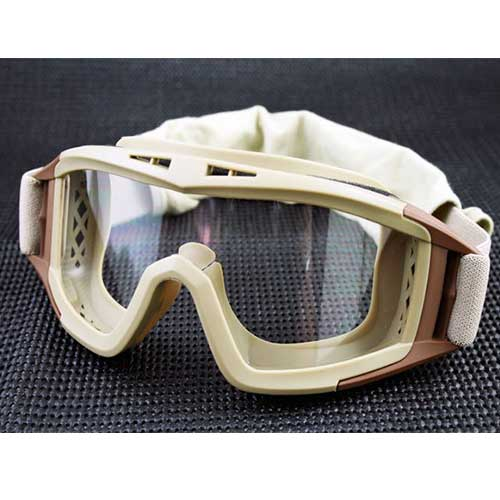 UV-X500 Tactical Goggle w/ Exchangeable 3 Lens Airsoft Glasses TAN