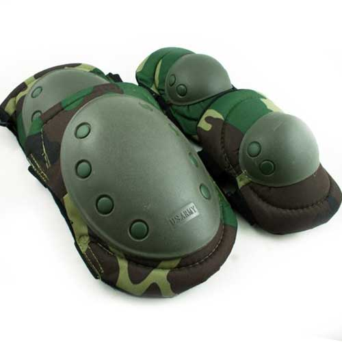 Paintball Airsoft Knee and Elbow Pads Woodland green Y5010