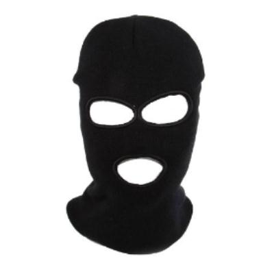 Black SWAT Full Face Protector Three Holes Knit Mask