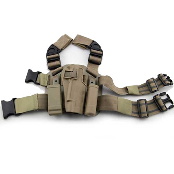 Tactical 1911 Drop Leg Holster Gun Pouch with Buckle for 1911 Tan