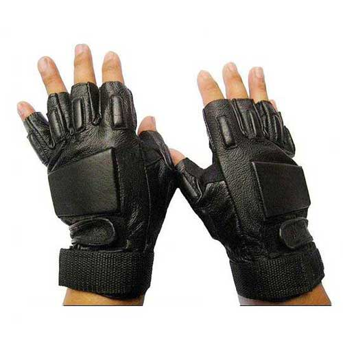 Mens Army Airsoft Fingerless Leather Gloves Black