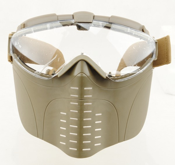 Full Face Tacticfal Goggle Mask Electric Turbo Mini Fan (Khaki)