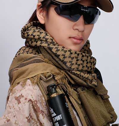 Tactical windproof Shemagh Arab scarf Chequered Mud/Brown