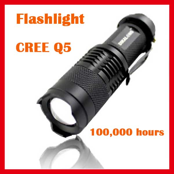 Airsoft Outdoor Tactical diving mini zoom Cree LED Q5 flashlight