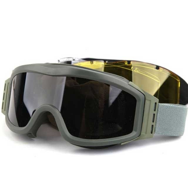 Military Tactical Goggles 3 Lens Army Profile NVG Glasses Airsoft BK