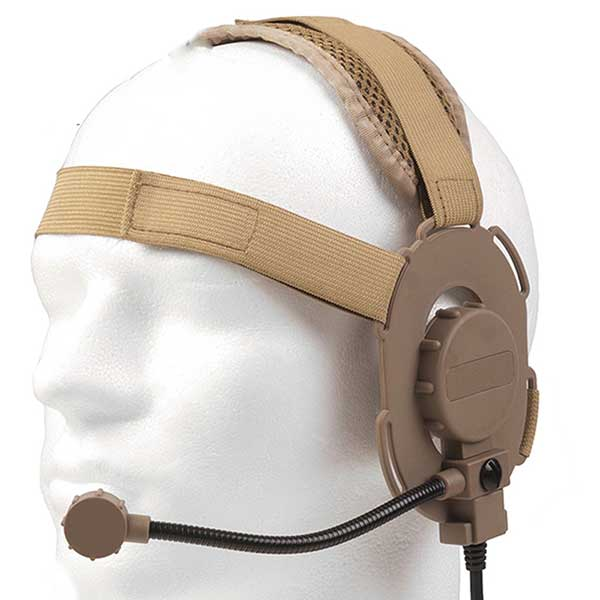 Tactical Bowman Evo III Headset Airsoft Mic Radio Boom 3 Radio TAN