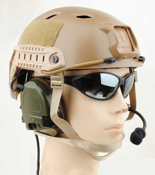 FAST Base Jump Helmet USMC Type Tan 4 position accessory