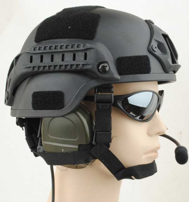 MICH 2000 Helmet Action Airsoft Matrix with NVG Mount & ARC Rail BK