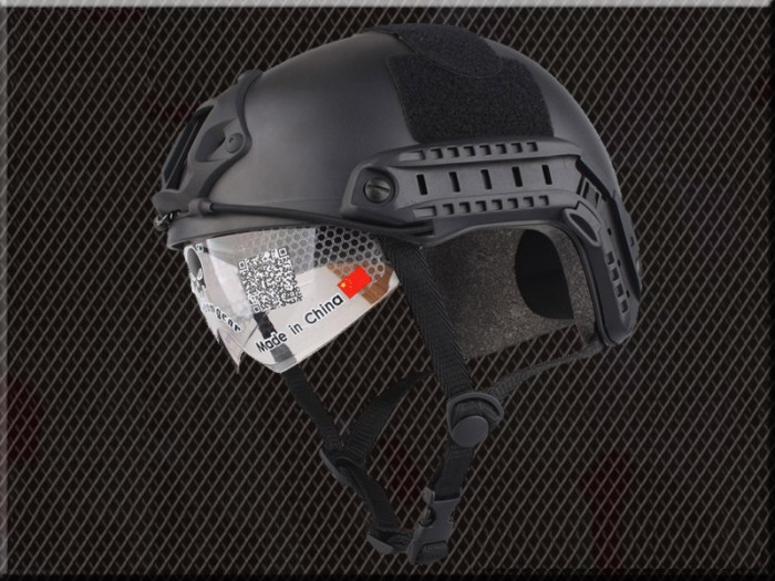 Tactical Airsoft Fast Helmet Sport Helmets with Goggle No Hole BK