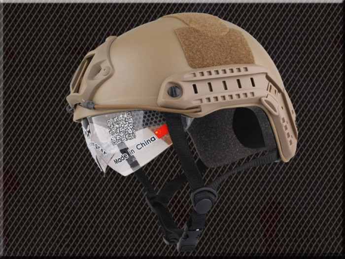 Tactical Airsoft Fast Helmet Sport Helmets with Goggle No Hole TAN