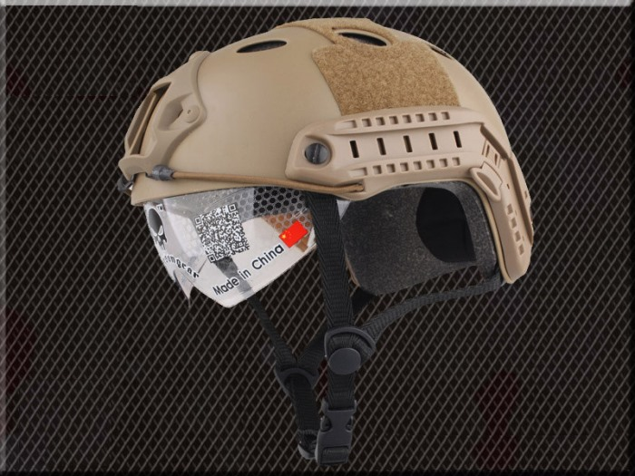 FAST Tactical Airsoft Fast Helmet Military Protective Goggle Hole DE