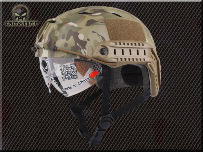 FAST Durable Airsoft Fast Helmet Shroud Camo Multicam w Goggle MCBJ