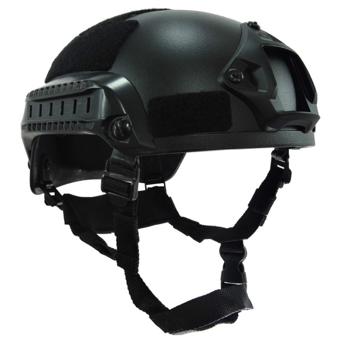 MICH 2001 Helmet Action Matrix Compact w NVG Mount & Side Rails BK
