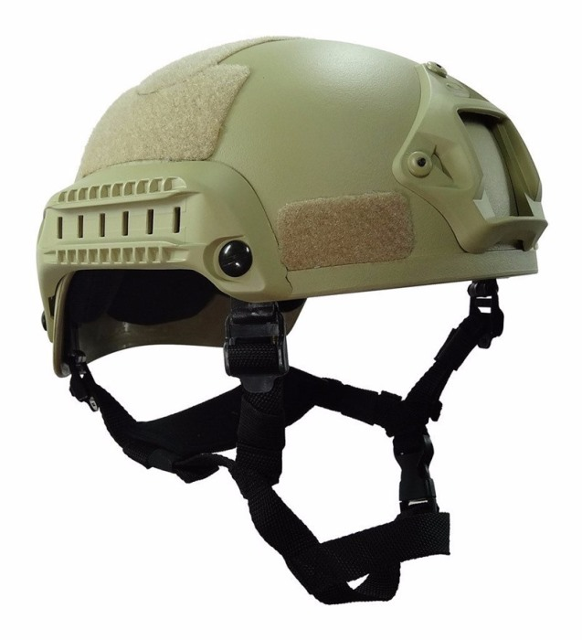 MICH 2001 Helmet Action Matrix Compact w NVG Mount & Side Rails TAN