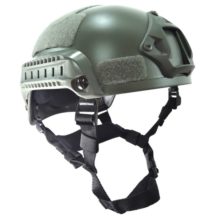 MICH 2001 Helmet Action Matrix Airsoft w NVG Mount Side Rails Gray