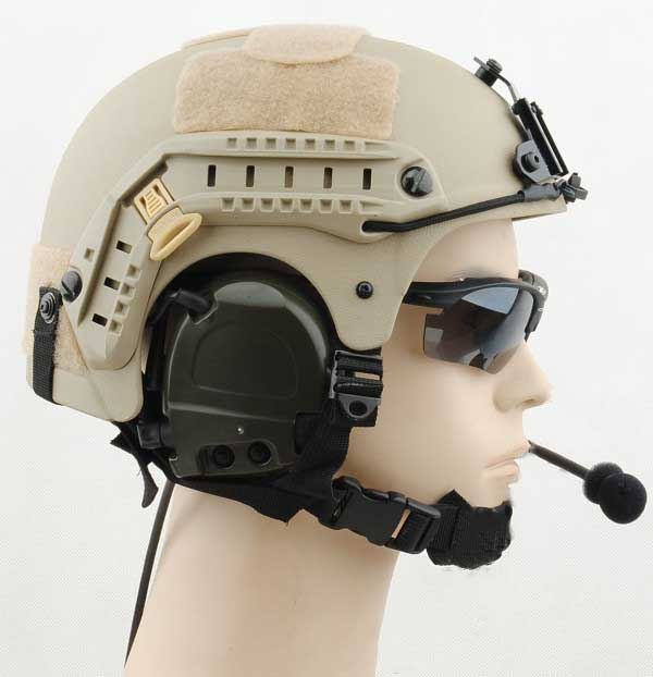 IBH Helmet USMC Type with NVG Mount & Side Rail Sand