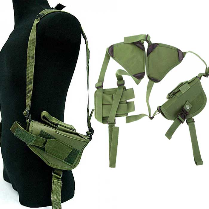 Tactical Army Horizontal Ambidextrous Pistol Shoulder Holster OD